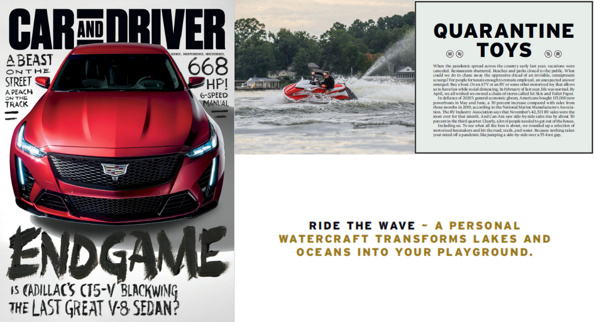 "Car and Drive features Yamaha WaveRunners as ""quarantine toys"""